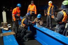 Impressionen der Arbeiten während der Vollsperrung der Rheinbrücke Emmerich. Freitag 18.01.2019, in Emmerich. Foto: Christian Creon