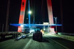 Impressionen der Arbeiten während der Vollsperrung der Rheinbrücke Emmerich. Samstag 19.01.2019, in Emmerich. Foto: Christian Creon
