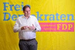Kevin Schneider debattierte über den geplanten Fördermittelmanager für Isselburg. Samstag 09.03.2019, in Isselburg. Foto: Christian Creon / FUNKE Foto Services